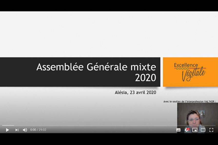 EXCELLENCE VÉGÉTALE : Coronavirus COVID-19… Sylvie Robert, Déléguée Générale, a présenté le compte-rendu de l'Assemblée Générale Mixte, jeudi 23 avril 2020, sur YouTube