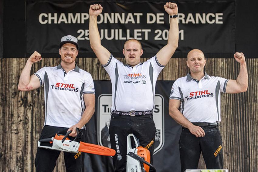 STIHL TIMBERSPORTS® : Le Championnat de France 2021 de bûcheronnage sportif offre une 6ème couronne pour le Corrézien Pierre Puybaret au Puy-en-Velay (Haute-Loire)