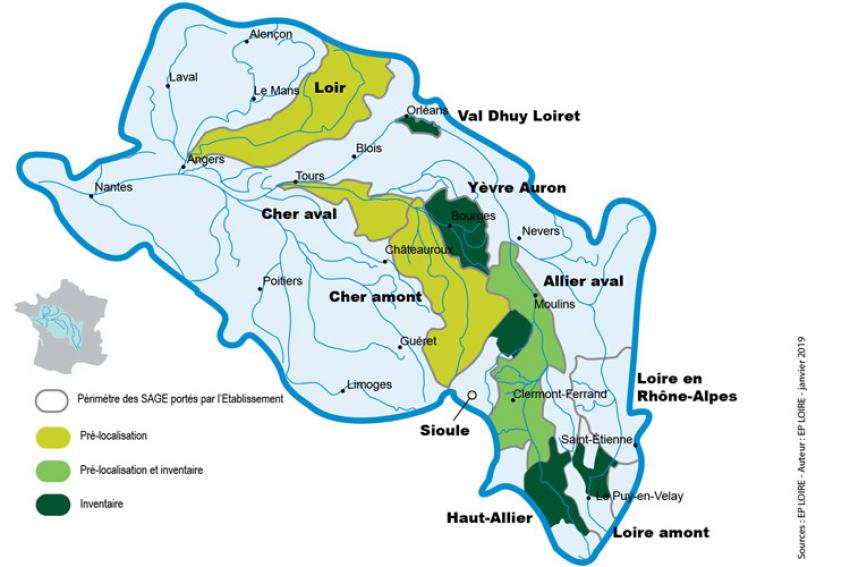 EPTB LOIRE : Depuis 10 ans, l'Etablissement public Loire s'est impliqué dans l'inventaire et la cartographie des zones humides sur le bassin de la Loire et ses affluents