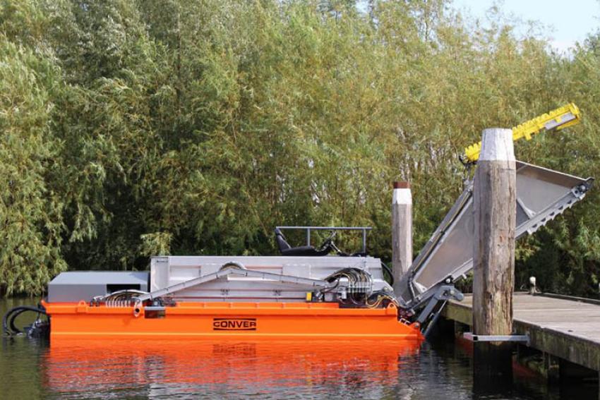 DATA GREEN : Découvrez la nouvelle faucardeuse CONVER MC101 pour le ramassage des herbes, des débris flottants ou la végétation de surface, dans les lacs, les étangs, les rivières
